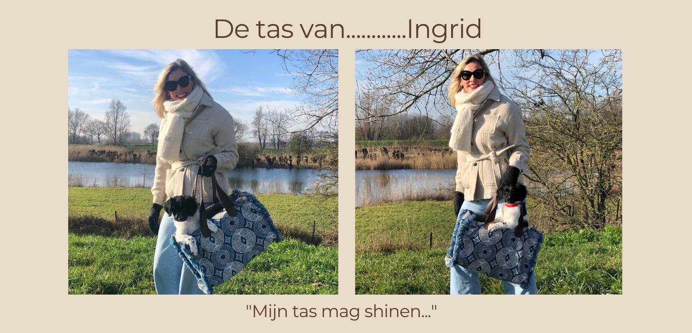 Ingrid met haar APril&October tas in het park